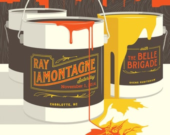 Ray Lamontagne w/ The Belle Brigade Poster, November 1st, 2014, Charlotte, North Carolina