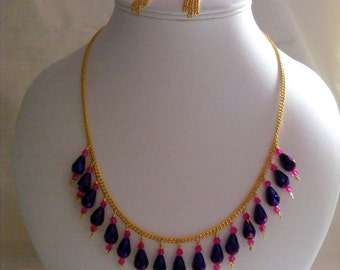Deep Purple and Fuchsia Drop Jewellery Set