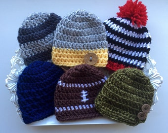 Preemie crochet hat, NICU, Premature baby boy, Newborn baby boy, Choose 2 get 1 free
