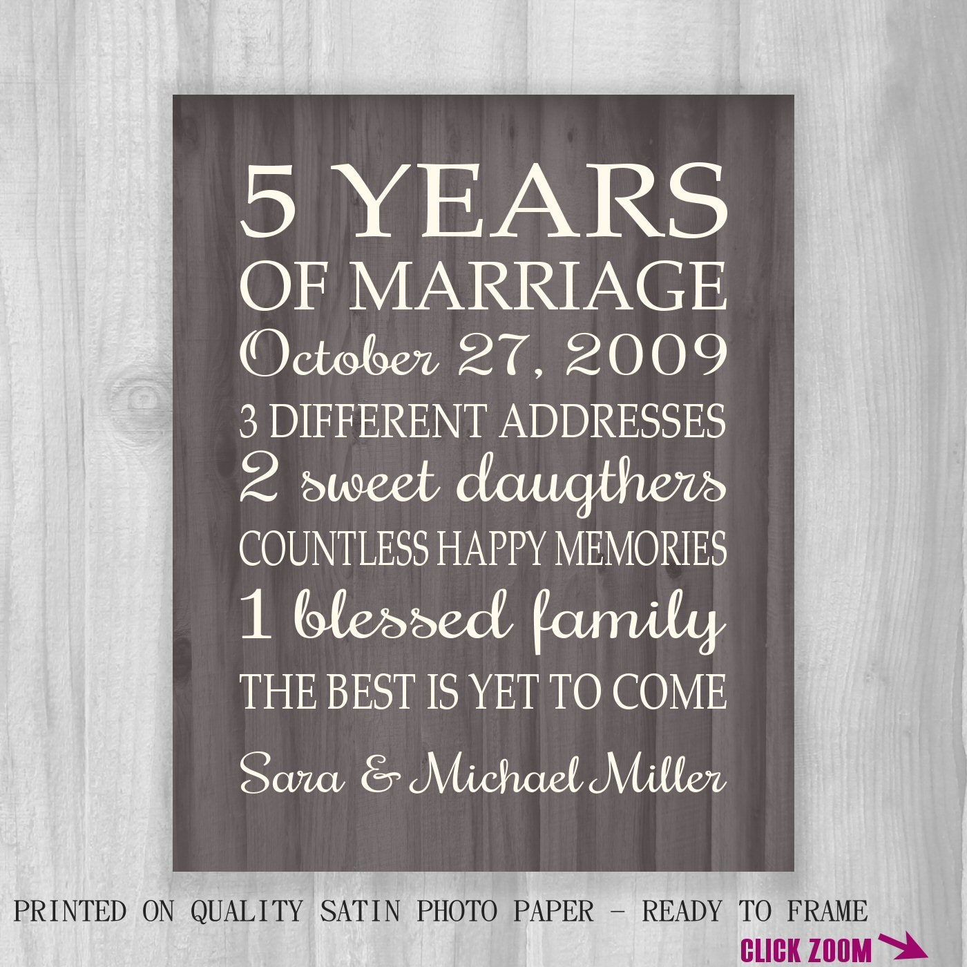 5th Anniversary Gifts For Her: 5th Anniversary Gift Print FAUX Wood 5 Years 10 15 20 25