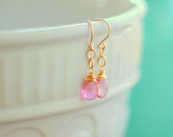 Pink Mystic Quartz Gold Drop Earrings