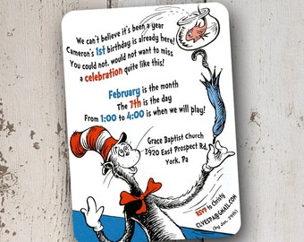 Dr Seuss' Cat in the Hat 1st Birthday Invitation 5x7: Printable and Customizable