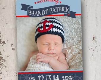Nautical Birth Announcement 5x7: Printable and Customizable