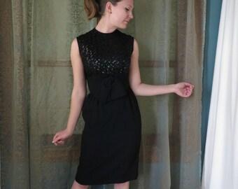 1960s Black Sequin Bow Dress Vintage Wiggle Dress Holiday Party Dress 60s Sequin Dress LBD Little Black Dress 60s Mad Men Dress