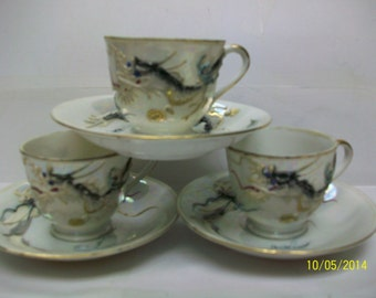 Mother of pearl luster dragon [3]cups & saucer1950s Japan