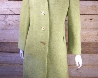 Green Wool Lazarus Coat // 1950s Outerwear Pale Lime