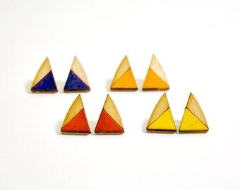 Lasercut hand-painted triangle wood stud earrings || contemporary jewelry || made in Somerville, MA || gifts for her