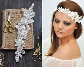 Vintage Headpiece Lace Hairband/ Headband beaded with Pearls in Ivory, Bohemian Head Piece, Wedding Lace Headpiece