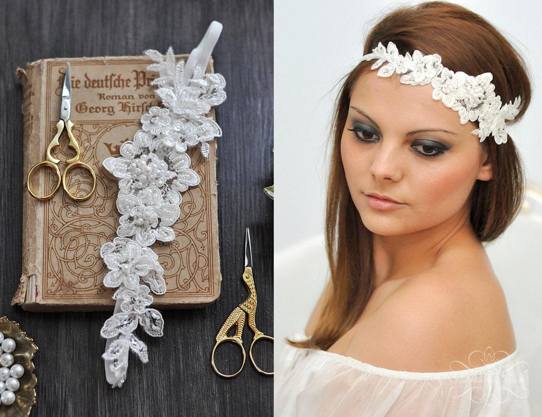 Braut haarschmuck spitze  Braut Headpiece Spitze Haarband Kopfschmuck Hochzeit