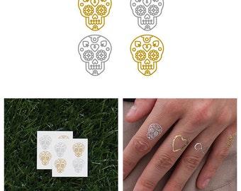Sugar - Metallic Gold Silver Sugar Skull Muertos Temporary Tattoo (Set of 8)