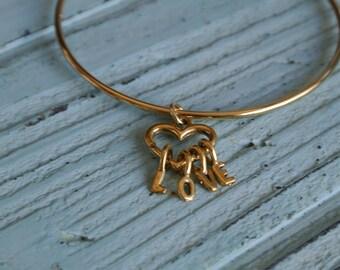 LOVE Bracelet!  Adjustable Bangle Bracelet with a heart charm.  Valentine's day gift!