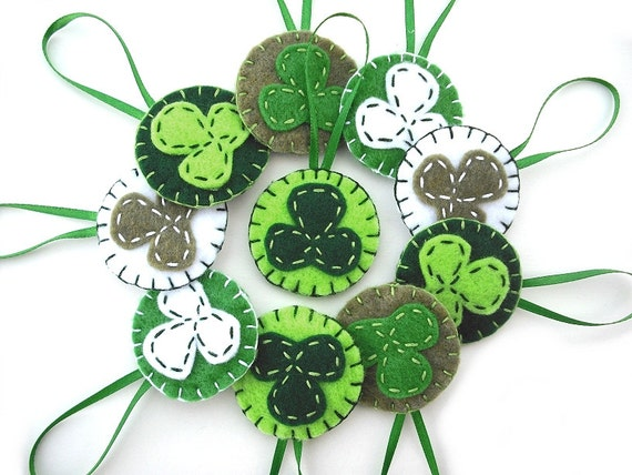 Items similar to shamrock ornaments green clover for Shamrock decorations home