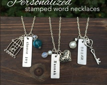 "One little word - Personalized metal stamped word necklace  - LONG 32"" chain - inspirational - word of the year -  Love Squared Designs"