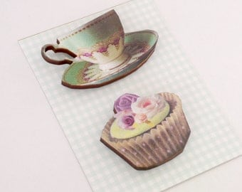 Tea Cup and CupCake Magnet Set Tea Lover Gifts Laser Cut Wood Green China Teacup and Iced Cup Cake Kitchen Decor