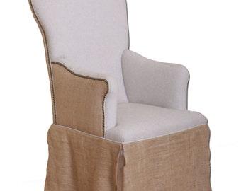 Linen & Burlap Bistro Arm Chair