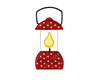 Lantern Applique - 3 sizes - Camping Applique Design - Instant EMAIL With Download