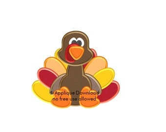Turkey Applique Design - Instant EMAIL With Download - 3 sizes - for Embroidery Machines