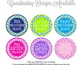 Personalized Sibling Iron On Transfers - Polka Dot Sibling Iron Ons - Printable Sibling Iron On Transfers - You choose combination