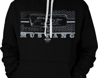 Ford Mustang Hoodie, Ford Mustang Legend Grille Sweatshirt, Officially Licensed Ford Design, Ford Mustang Hooded Sweatshirt 1292_2tonehood