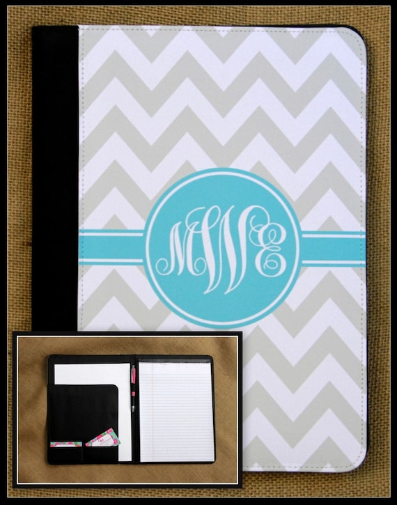 Teacher Gift For Her Notebook Notepad Portfolio Pad Folio Monogrammed Personalized Custom Monogrammed Gift Office Desk Accessories