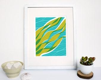 50% OFF  |  Ocean Kelp print archival giclee print  |  teal and green