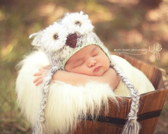 Snowy Owl Hat -  Baby Owl Hat - Crochet Owl Hat - Gender Neutral Hat - Newborn Prop - Baby Owl Prop - Newborn Boy Prop - Newborn Girl Prop
