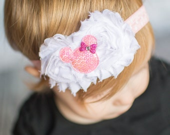 Minnie Mouse Headband - White Flowers - Pink Minnie - Baby Headband - Minnie Headband - Minnie Hair Bow