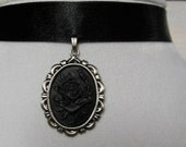 Gothic Black Rose Cameo Choker Necklace. Halloween ********RESERVED *****