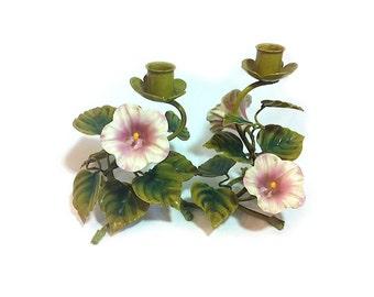 Vintage Metal Candle Holder Petunias Italian Toleware Tole Petunia Flower Pink Flower Candelabra Cottage Decor Wedding Centerpiece Decor