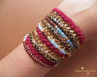 Boho Wrap Bracelet, Braided Bracelet, Beaded Bracelet, Triple Wrap, Gift, Leather Bracelet