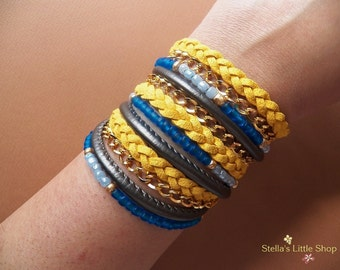 Wrap Bracelet, Boho Bracelet, Leather Triple Wrap Beaded