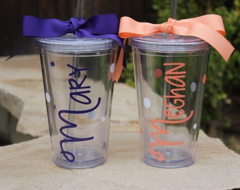 Personalized Tumbler - Super Cute - Choose Fonts and Colors - Great Gift - Decorated with Name and Polka Dots