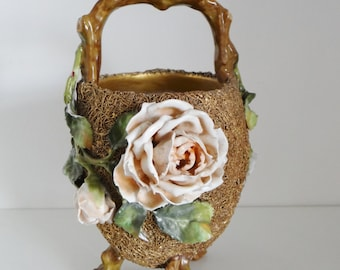 Vintage Vase Victorian Pottery and Metal Mesh Gold Tone Basket Vase with High Relief Pink Roses and Green Leaves Continental 1800's