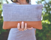 Chambray Clutch, Denim Clutch Purse, Denim and Leather Clutch, Cognac Leather Clutch, Small Chambray Purse, Everyday Clutch, Gifts for Women
