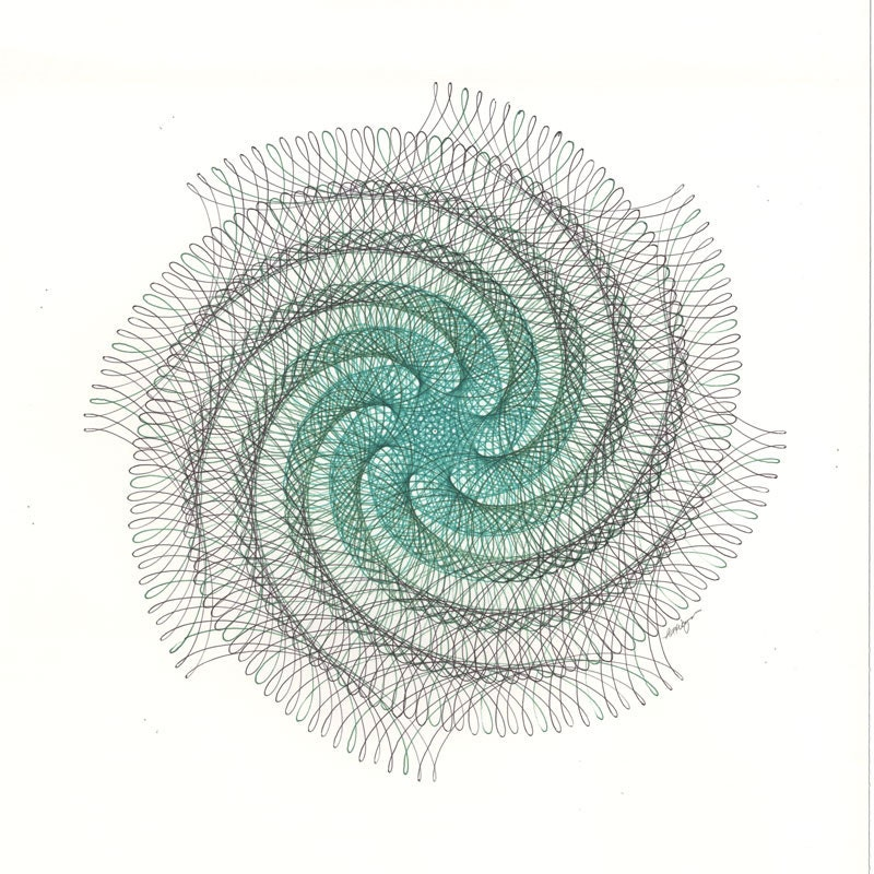 Drawing Red Lines With Green Ink : Spiral drawing green art swirl