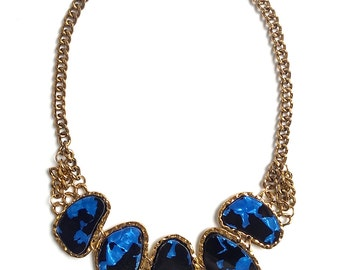 Blue statement necklace, blue bib necklace, blue chunky collar necklace