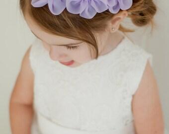 Flower Girl Headband, Lavender Flower Headband, Pastel Baby Headband, Spring Wedding, Newborn Photo Prop, Newborn Headband, Baby Shower Gift