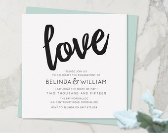 Engagement Party Invitation, Engagement Party Invite, Digital Invite, DIY Printable, Love