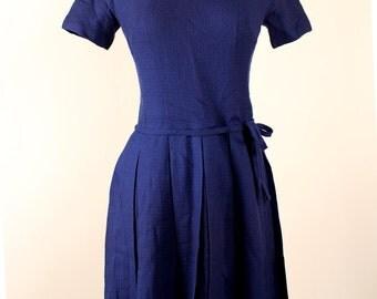 SALE - Vintage 1960's LANZ Originals Blue Wool Polished Rockabilly Style Secretary Day Dress