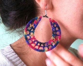 Colorful Crochet Statement Earrings, Rainbow Earrings, Wire Crochet Earrings, Hippie Hoop Earrings, Kaleidoscope Hoops, Purple Blue Earrings