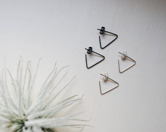 Triangle earrings, minimalistic punky earrings, sterling silver, 0.8mm, gold, yellow gold, rose gold, 14K, solid gold, teamgent2017