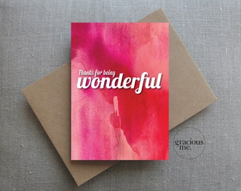 Thank You Card, 'Thanks for being wonderful', Thank-you Card