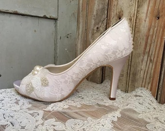 Lace Peep Toe Bridal Platform Art Deco Style Pump Beaded Pearl and Crystal Front Pearl Heel Lace Covered Satin Bridal Shoe