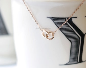 Rose Gold Tiny eternity necklace, double circle necklace, delicate, dainty, simple, everyday, bridal necklace, wedding, bridesmaid gifts
