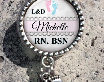 Personalized Retractable Badge Holder, Nurse Badge Reel, Lpn, Np, Nicu, Labor Delivery