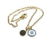 Evil Eye Charm Necklace, Gold Chain Initial Necklace, Personalized Handmade Women's Jewelry by elle and belle