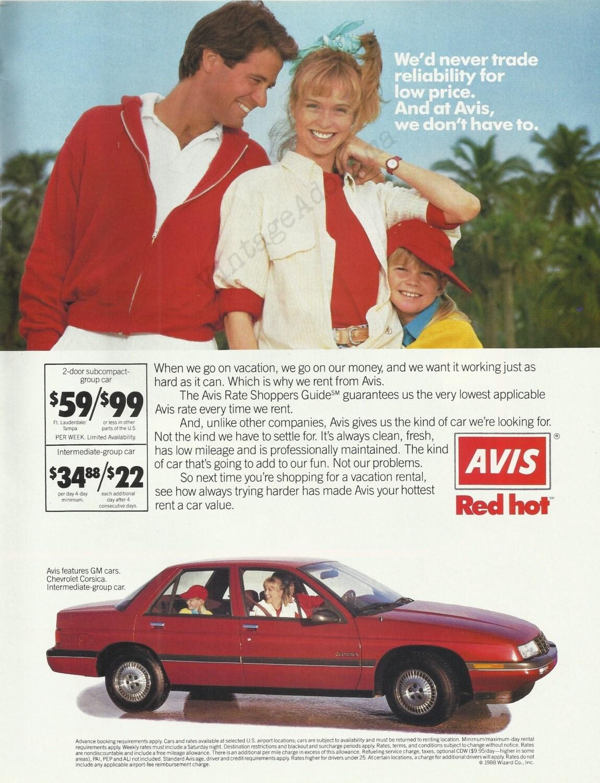 Avis Rent A Car Original 1988 Vintage Color Print Ad Car
