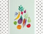 A4 Watercolour produce archival print | fruits & Vegetables