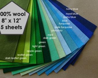 """5 wool felt sheets, 100 percent wool, pure wool felt ,choose any colour, 100% wool felt, 20x30 wool felt sheets,  8"""" x 12"""" wool felt"""