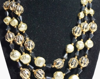 1970s Deauville 3 Strand Gold Pearl Bead Necklace Vintage Retro